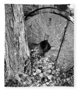 An Old Mill Stone Ely's Mill Roaring Fork Bw Fleece Blanket