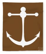 Anchor In Brown And White Fleece Blanket