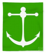 Anchor In Green And White Fleece Blanket