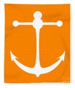 Anchor In Orange And White Fleece Blanket