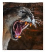 Angry Cougar 1 Fleece Blanket