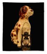 Antique Dog W Lantern Fleece Blanket