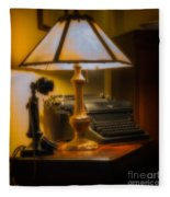 Antique Lamp Typewriter And Phone Fleece Blanket