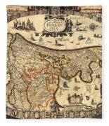 Antique Map Of Holland 1630 Fleece Blanket
