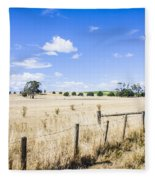 Arid Agricultural Landscape In South Tasmania Fleece Blanket
