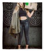 Army Pinup Girl At Rifle Range. Bullet Proof Fleece Blanket