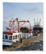At The Cobb -- Lyme Regis Fleece Blanket