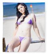 Attractive Girl On The Beach Fleece Blanket