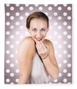 Attractive Young Retro Girl With Look Of Surprise Fleece Blanket