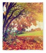 Autumn Fall Park Fleece Blanket