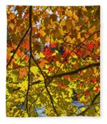 Autumn Maple Leaves Fleece Blanket