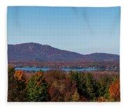 Autumn Trees At Lakeshore, Brome Lake Fleece Blanket