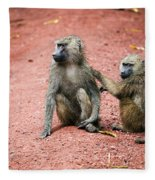 Baboons In African Bush Fleece Blanket