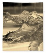 Baby Gator Neg Dark Sepia Fleece Blanket