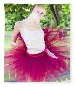 Ballerina Stretching And Warming Up Fleece Blanket