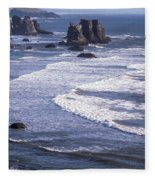 Bandon Beach Seastacks 4 Fleece Blanket