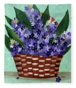 Basket Of Hyacinths  Fleece Blanket