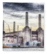 Battersea Power Station London Snow Fleece Blanket