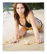 Beach Fun With A Gorgeous Brunette Fleece Blanket