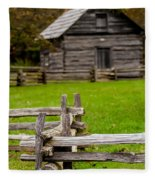 Beautiful Autumn Scene Showing Rustic Old Log Cabin Surrounded B Fleece Blanket