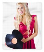 Beautiful Blonde With Heart-shaped Record Fleece Blanket