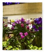 Beautiful Flowers Inside The Changi Airport In Singapore Fleece Blanket