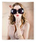 Beautiful Surprised Girl Wearing Big Sunglasses Fleece Blanket