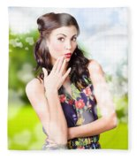 Beautiful Valentines Day Woman. Cosmetic Love Fleece Blanket