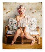 Beautiful Woman Getting New Hair Style At Salon Fleece Blanket