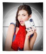 Beautiful Woman Holding Home Video Camera Fleece Blanket