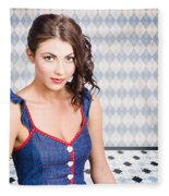 Beautiful Young Brunette Pin-up Woman  Fleece Blanket