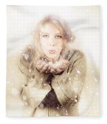 Beautiful Young Woman Blowing Snow In Winter Style Fleece Blanket