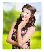 Beauty Girl. Beautiful Young Woman With Clean Skin Fleece Blanket