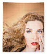 Beauty Portrait. Beautiful Woman And Long Red Hair Fleece Blanket