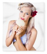 Beauty Woman With Clean Skin And Natural Makeup Fleece Blanket