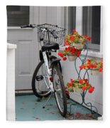 Bicycles And Geraniums Fleece Blanket