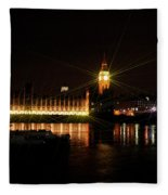 Big Ben And The House Of Parliment On The Thames Fleece Blanket