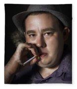 Big Mob Boss Smoking Cigarette Dark Background Fleece Blanket