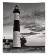 Big Sable Point Lighthouse In Black And White Fleece Blanket