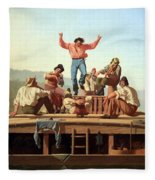 Bingham's The Jolly Flatboatmen Fleece Blanket