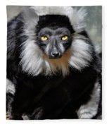 Black And White Ruffed Lemur Fleece Blanket
