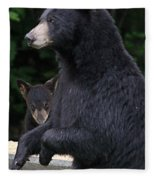 Black Bear With Cub Fleece Blanket