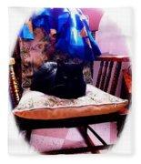 Black Cat With One White Whisker Fleece Blanket