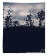 Black Silhouette Trees In Spooky Tasmanian Forest Fleece Blanket