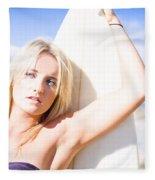 Blond Sports Girl Holding Surfboard Fleece Blanket