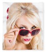 Blond Woman In Sunglasses Fleece Blanket