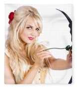 Blond Woman With Cupid Bow Fleece Blanket