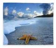 Blue Foam Starfish Fleece Blanket