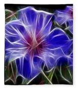 Blue Hibiscus Fractal Fleece Blanket