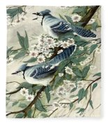 Blue Jays And Blossoms Fleece Blanket